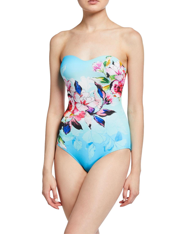 JETS by Jessika Allen Floral-Print Bandeau One-Piece Swimsuit
