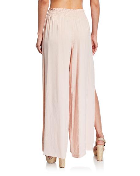 Ramy Brook Athena Wide-Leg Side-Slit Pants