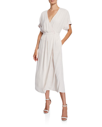 Tavine Short-Sleeve Midi Wrap Dress