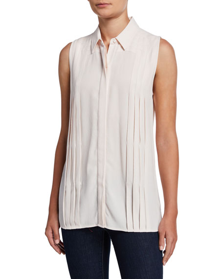 Equipment Melisande Button-Down Sleeveless Pleated Blouse