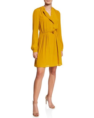 Davignon Button-Front Long-Sleeve Dress