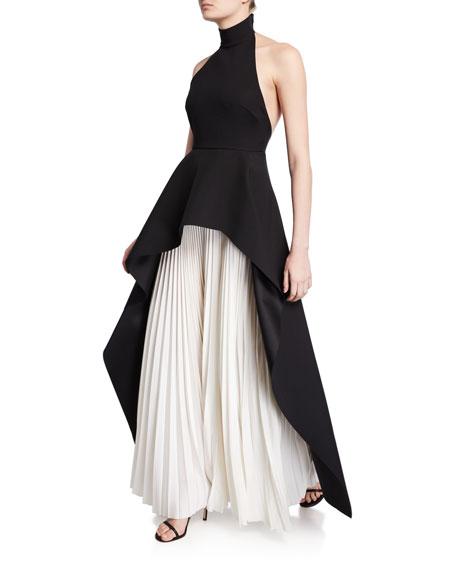 Solace London Lavinia High-Neck Pleated Peplum Maxi Dress