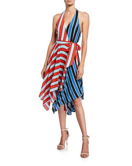 Alice + Olivia Canton Colorblock Striped Handkerchief Halter Dress