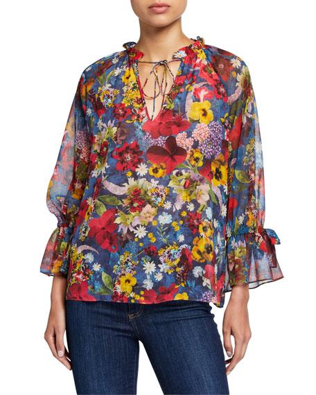Alice + Olivia Julius Floral Raglan Blouson-Sleeve Tunic Top