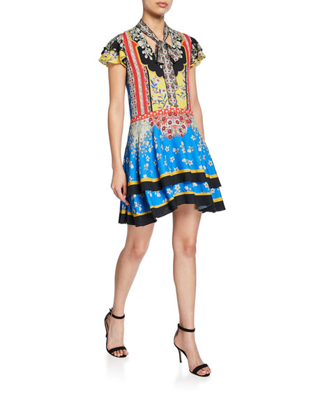 Alice + Olivia Moore Floral Tie-Neck Flutter-Sleeve Layered Tunic