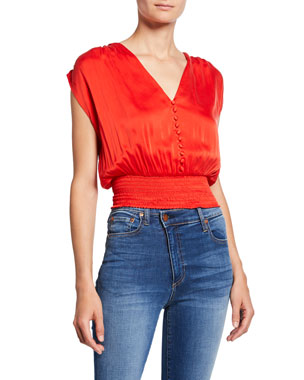 4006755b50f Alice + Olivia Lorretta Smocked Sleeveless Silk Satin Crop Top