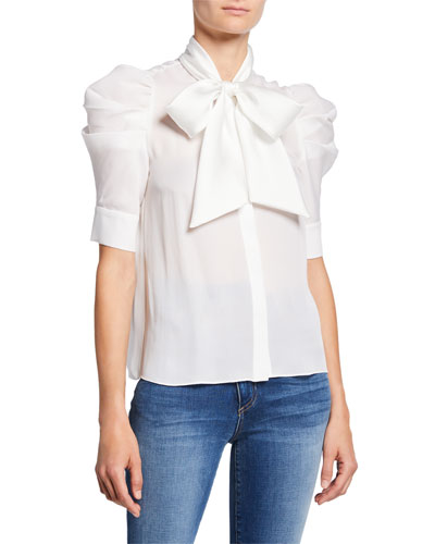 Maylee Tie-Neck Puff-Sleeve Button-Down Blouse