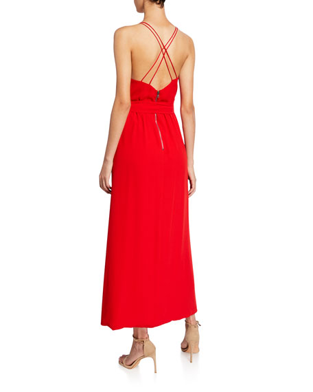 Alice + Olivia Susana Multi-Strap Mock-Wrap Midi Dress
