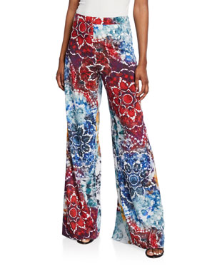 0e2cdecc736 Alice + Olivia Athena Tie-Dye Flared Wide-Leg Pants