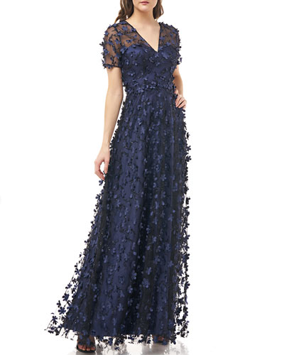V-Neck Short-Sleeve A-Line Gown w/ Beading & 3D Floral Appliques
