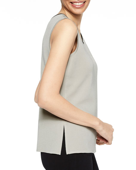 Misook Scoop-Neck Tank with Contrast Trim