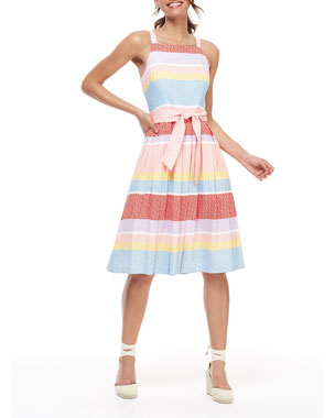 07bcd9ca4b Gal Meets Glam Collection Striped Square-Neck Sleeveless Dress with  Circular Skirt