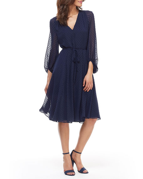 Gal Meets Glam Collection Dotted V-Neck Blouson-Sleeve Fit-&-Flare Dress