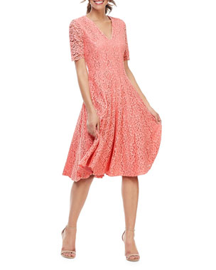 5cc7cb94b7a Gal Meets Glam Collection V-Neck Elbow-Sleeve Lace Cocktail Dress
