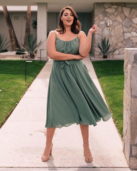 dde3a52325f Scoop-Neck Sleeveless Double Waist Bow Dress
