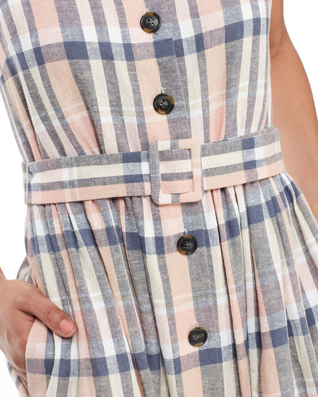 Gal Meets Glam Collection Plaid Square-Neck Button-Front Sleeveless Belted Dress