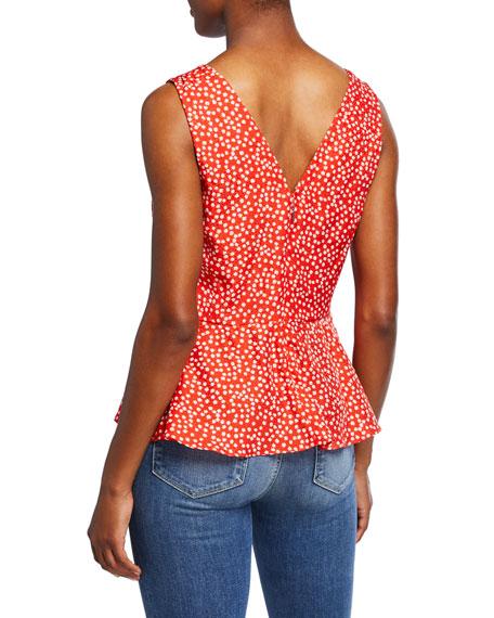 Rebecca Taylor Malia Sleeveless Ditsy Floral Top