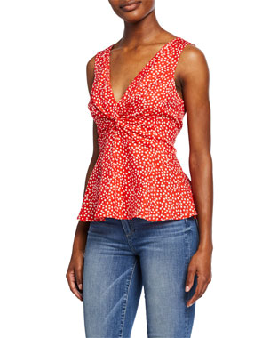 f9550a25b47a6 Rebecca Taylor Malia Sleeveless Ditsy Floral Top