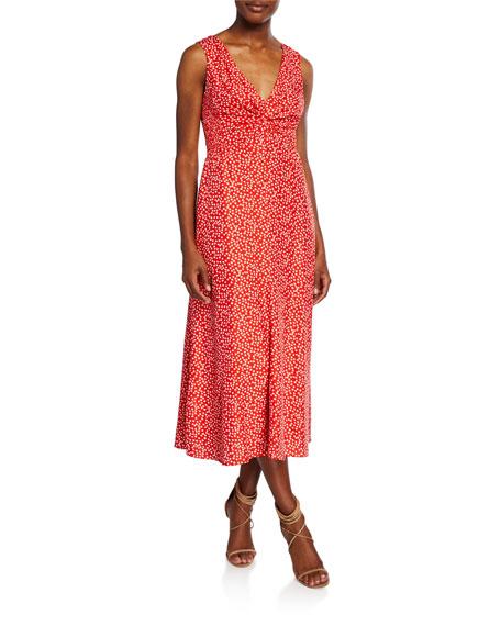 Rebecca Taylor Malia Printed Twist-Front Sleeveless Midi Dress