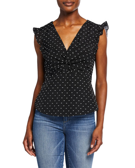 Rebecca Taylor Sleeveless Birdseye Dot Top