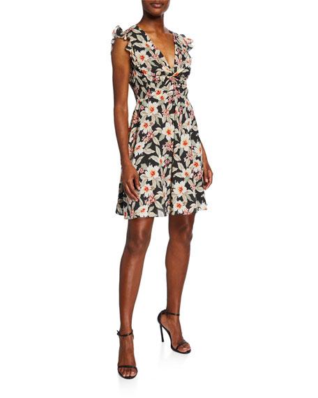 Rebecca Taylor Kamea Sleeveless V-Neck Floral Dress
