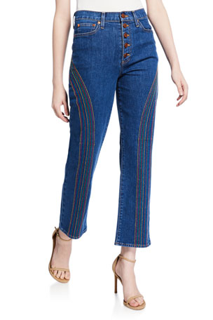 ALICE + OLIVIA JEANS Amazing High-Rise Straight-Leg Jeans