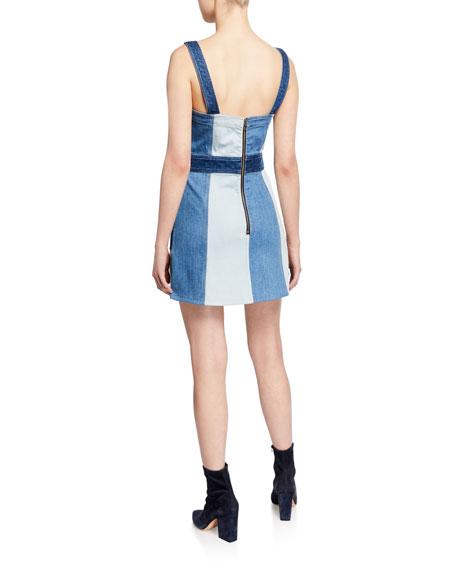 ALICE + OLIVIA JEANS Jamie Denim Mini Dress with Pockets