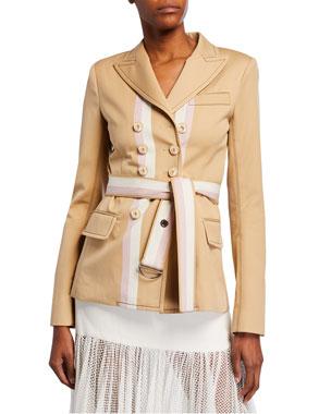 9cd6cd722 Alexis Nourdine Striped Belted Jacket