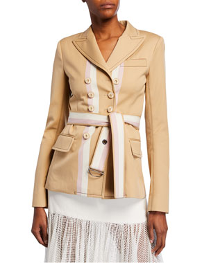 9cae0c3c05f Alexis Nourdine Striped Belted Jacket