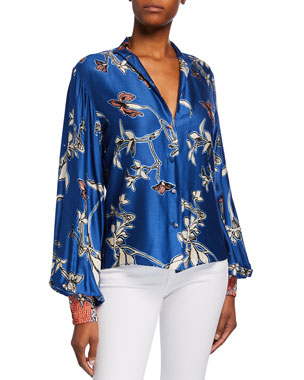 3aa631b77f3 Alexis Paoli Printed Button-Front Satin Top