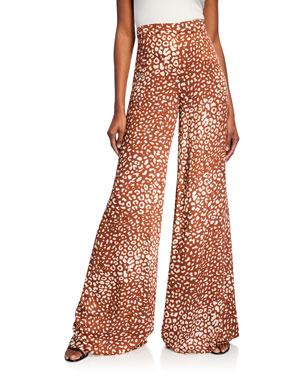 303cddebec6 Alexis Essa Wide-Leg Leopard-Print Pants