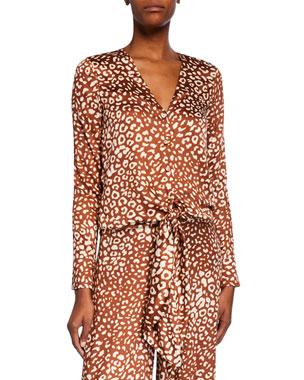 4de4a860d78 Alexis Neary Leopard-Print Tie-Front Top