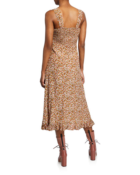 Faithfull the Brand Yasmin Floral Print Sleeveless Midi Dress