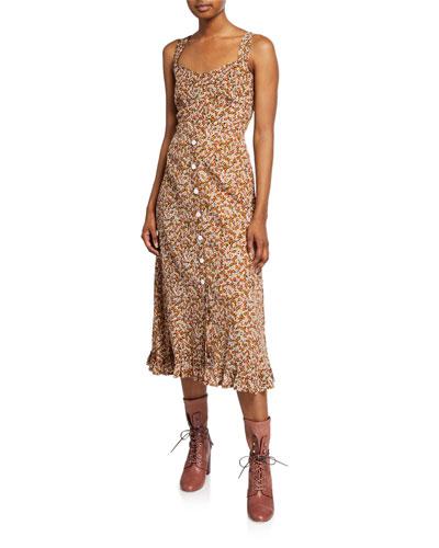Yasmin Floral Print Sleeveless Midi Dress