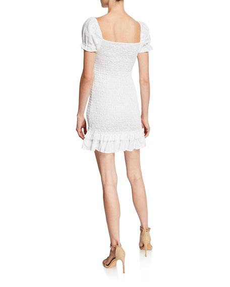 Faithfull the Brand Cette Puff-Sleeve Smocked Mini Linen Dress