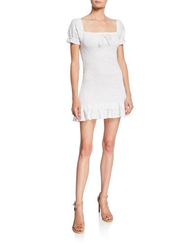 Cette Puff-Sleeve Smocked Mini Linen Dress