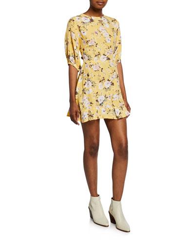 Jeanette Floral-Print Half-Sleeve Mini Dress