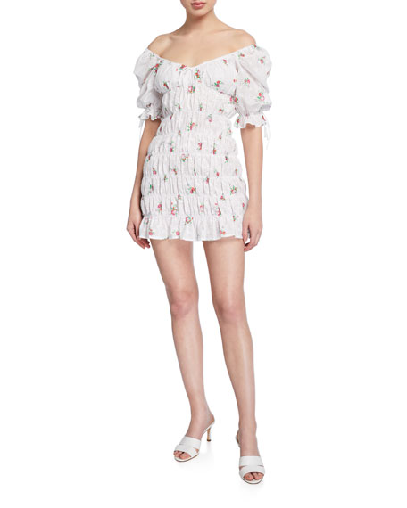 For Love & Lemons Tarte Eyelet Smocked Short Dress