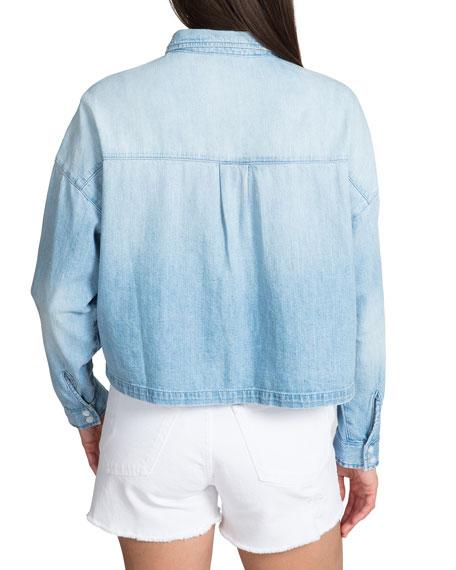 PRPS Cropped Denim Boyfriend Shirt with Pockets