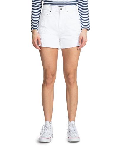 AMX High-Rise Distressed Denim Shorts