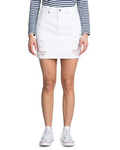 Distressed Denim Mini Skirt with Back Slit
