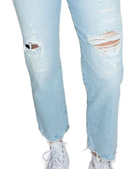 PRPS High-Rise Slim Boyfriend Jeans with Distressing