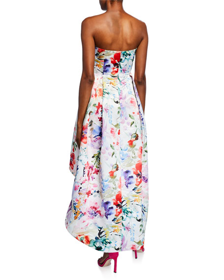 Parker Black Roxanne Floral Strapless Sweetheart High-low Bustier Satin Gown