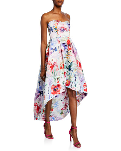 Roxanne Floral Strapless Sweetheart High-low Bustier Satin Gown