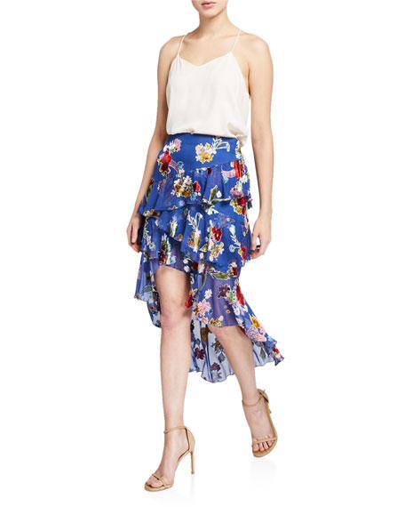 Alice + Olivia Mariel Asymmetrical Ruffle High-Low Skirt
