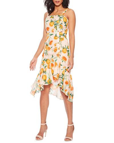Millie Asymmetrical Orange-Print Flounce Dress