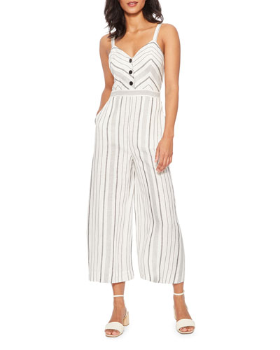 Dominica Striped Sleeveless Wide-Leg Crop Jumpsuit