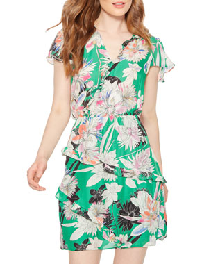 716ee0e9efa97 Parker Justice Floral-Print Ruffle Short Dress
