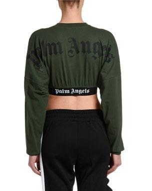 1460ace1f9 Palm Angels Cropped Long-Sleeve Logo Tee