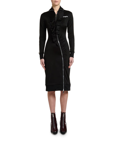 Palm Angels Rouches Zip-Front Track Dress